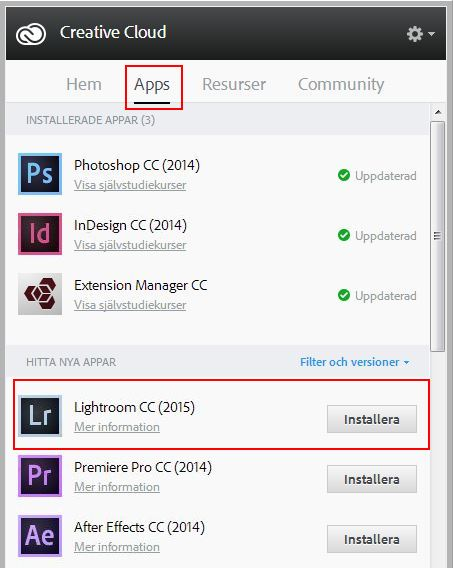 Lightroom CC - installation